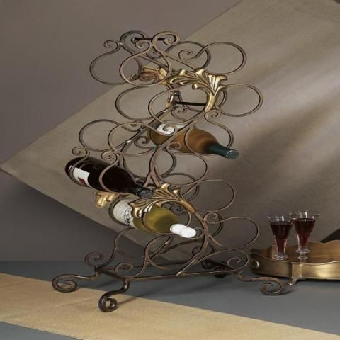 Gironat Florence Wine Rack 12 Bottles Bronze Iron With Brass