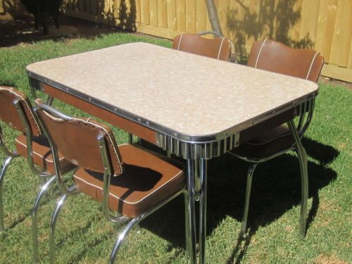 Retro Vintage Dining Kitchen Table AND 4 Chrome AND Vinyl ...
