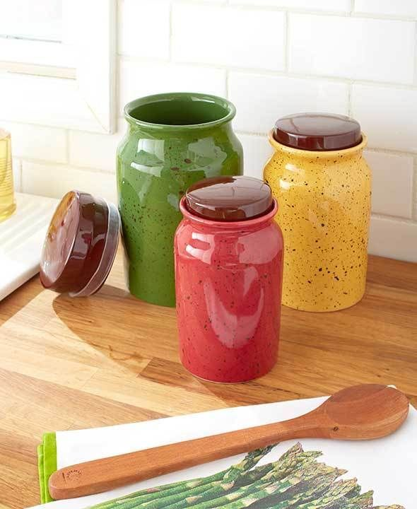 3 MULTICOLOR SPECKLED CANISTERS HOME DECOR KITCHEN FOOD TREAT
