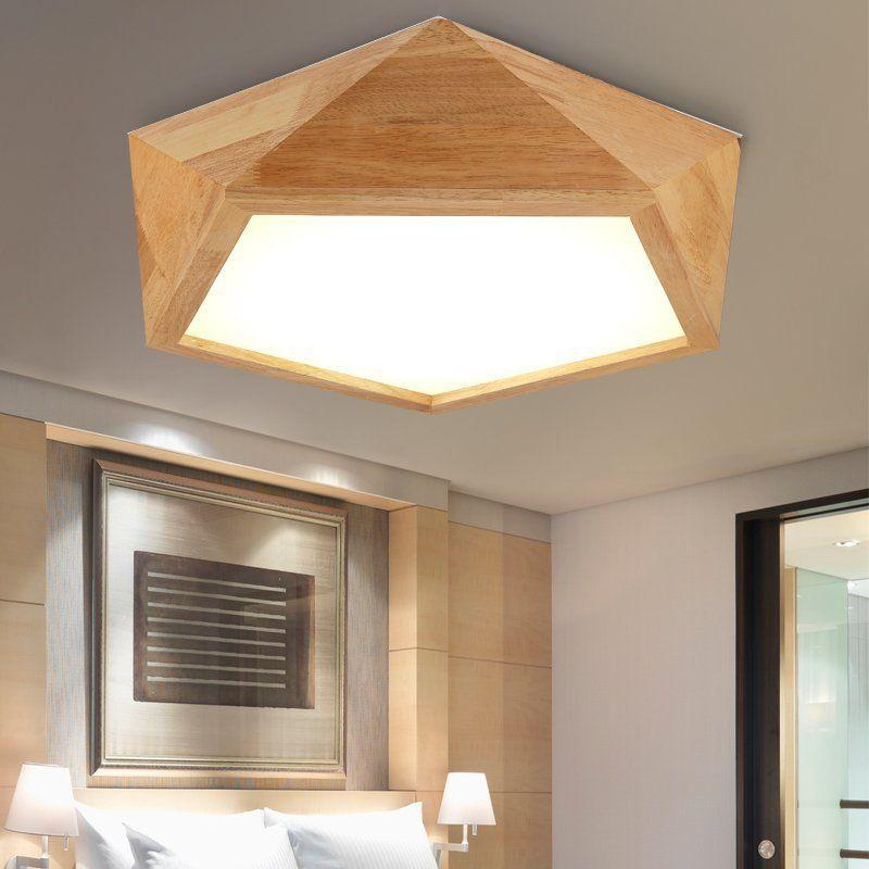 Creative Wooden LED Ceiling Lamps lights flush