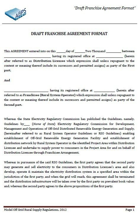 Franchise Agreement Form Sample Printable Motor Lodge License And