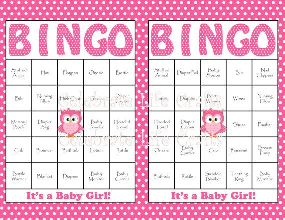 30 Owl Baby Shower Bingo Cards   Printable Party Baby Girl   Prefilled  Cards Included   Pink Owl Baby Shower Gift Bingo B2003