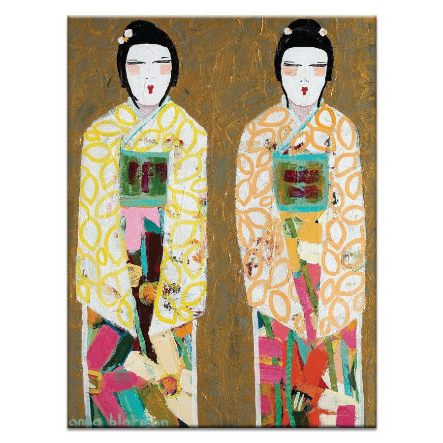 Double Geisha by Anna Blatman Painting Print on Wrapped Canvas ...