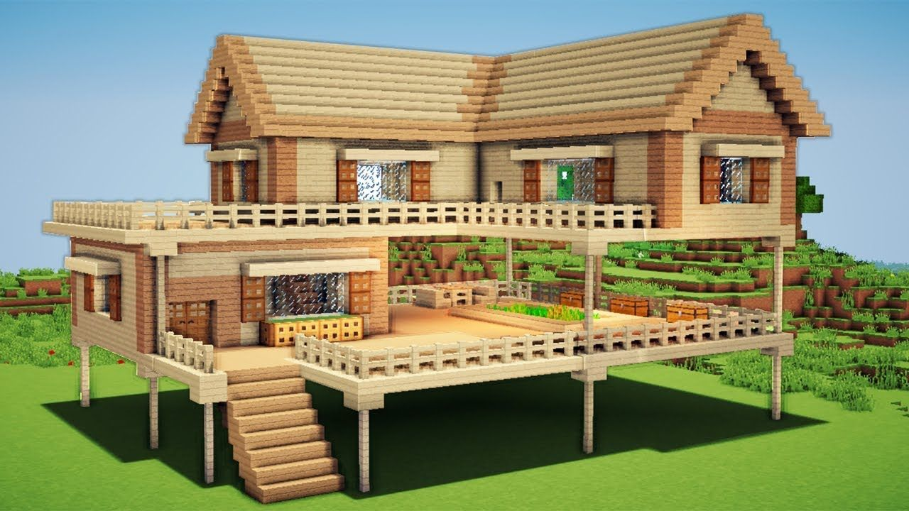 Minecraft Large Wooden House Tutorial How To Build A Survival House In Minecraft Easy Big Minecraft Houses Easy Minecraft Houses Minecraft House Designs