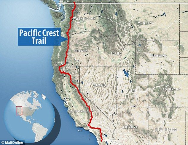 Trail From Mexico To Canada Map Stunning footage shows gruelling conditions on the Pacific Crest