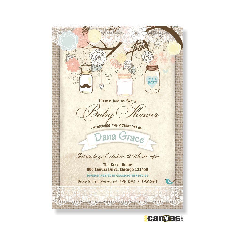 Burlap and Lace Rustic Baby Shower Invitation Mason Jar Invite Girl ...