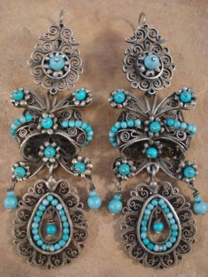 883ce4048551 Taxco Silver Frida Earrings. Sterling silver with filigree turquoise beads.