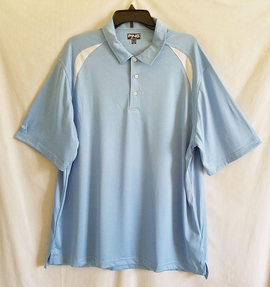 Mens Ping Performance Golf Polo Shirt XL Blue Short Sleeves