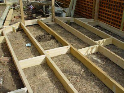 Beautiful flat ground level decking base decks for Decking framework timber