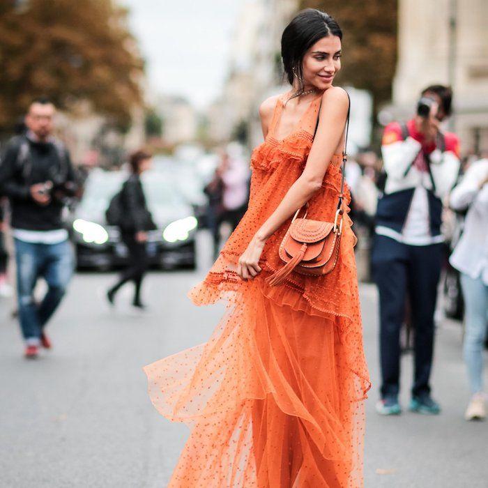 Kleid hochzeitsgast orange