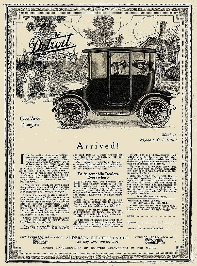 Detroit Electric Old Ads Vintage Cars Car Advertising