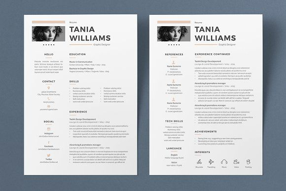 Resume Tania 2 Pages @Graphicsauthor Resume CV Templates