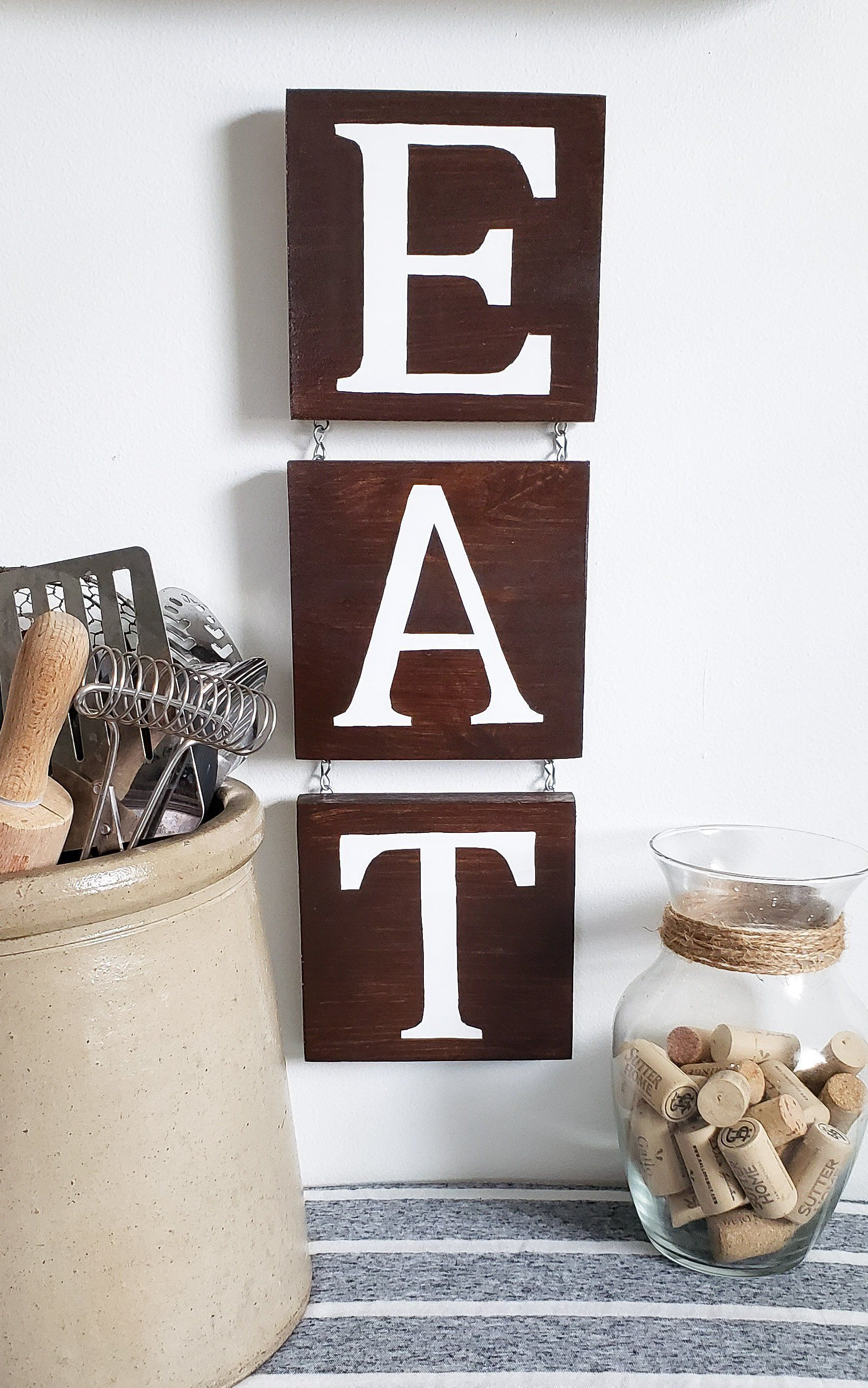 Eat Sign Kitchen Sign Kitchen Decor Wooden E A T Sign Wall Hanging Vertical Eat Sign Dining R Dining Room Wall Decor Wooden Kitchen Signs Room Wall Decor