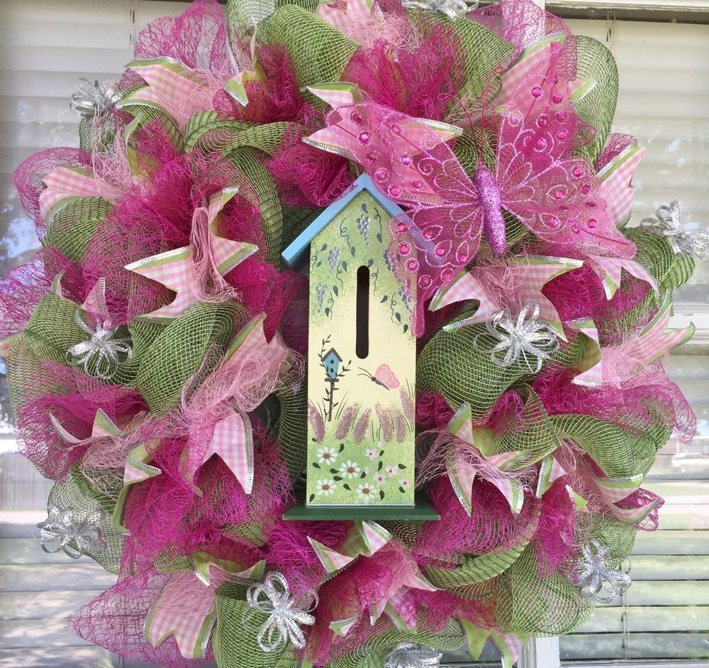 SPRING EVERYDAY DECO MESH RIBBON WREATH BUTTERFLY HOUSE
