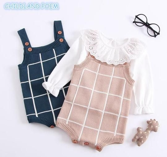Photo of Baby Knitted Romper Cotton Woolen Baby Girls Boys Clothes Newborn Infant Jumpsuit Plaid Sleeveless Toddler Overalls Outfits