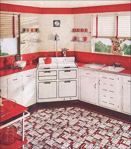 Vintage Red White Kitchen | 1937 Sealex Red U0026 White Kitchen