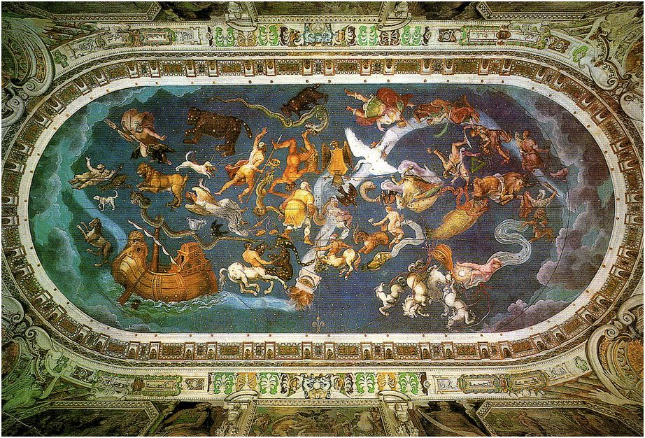 Renaissance Map room at Villa Farnese - The frescoed vault depicts the celestial spheres and the constellations of the zodiac