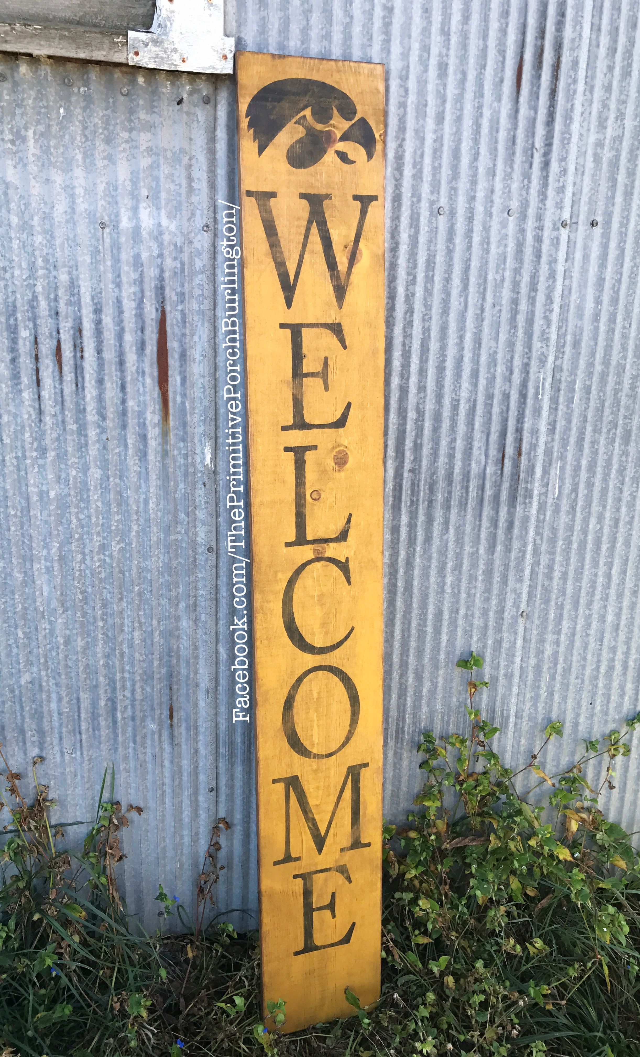 Welcome Iowa Hawkeyes Fans Rustic Handmade Wooden Outdoor Sign Front Door Decor Football University Shipping Available