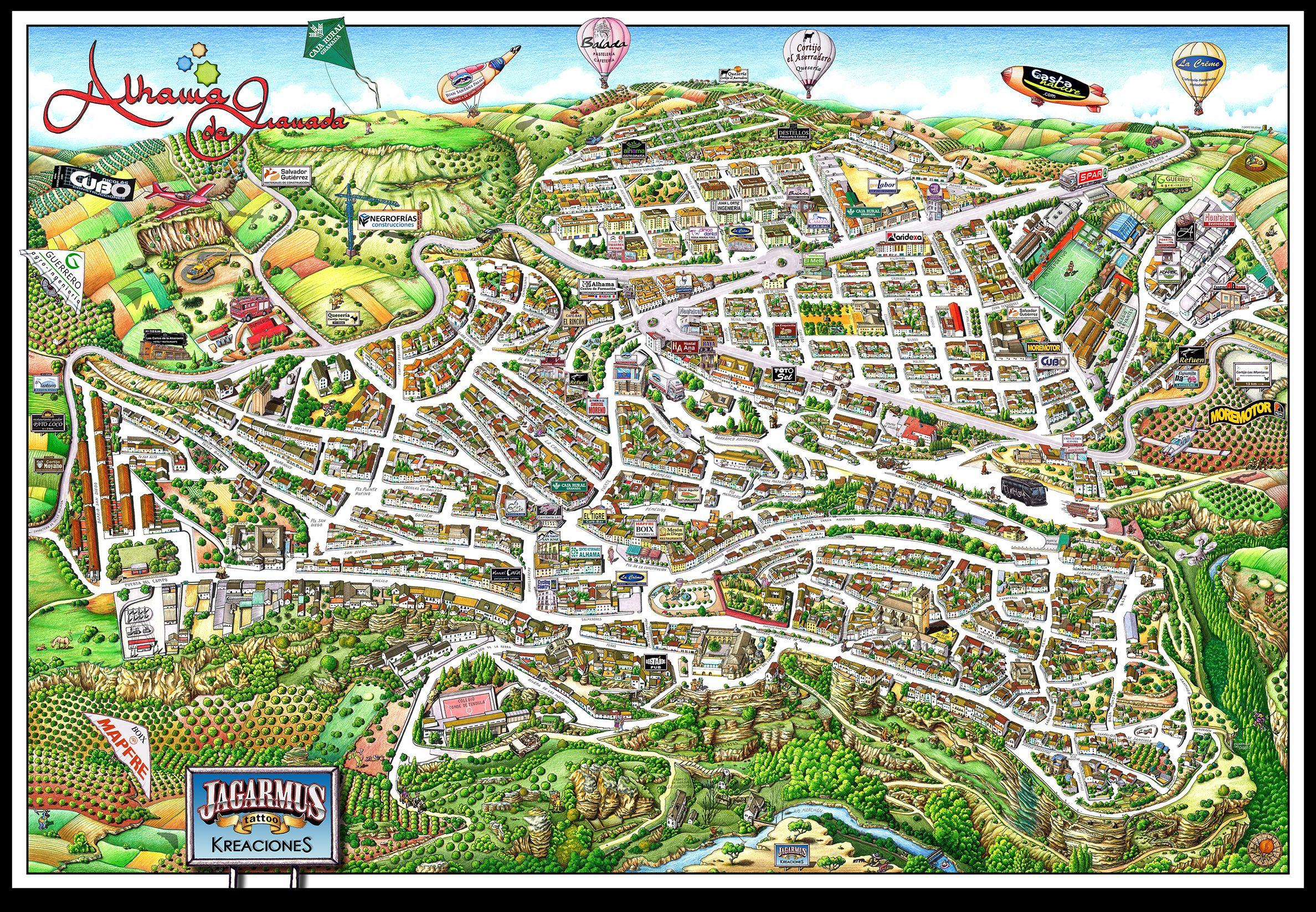 Mapa Alhama De Granada.Plano Artistico Alhama De Granada 2016 Poster Mapa Ciudad 3d Granada Alhama Planos Graficos