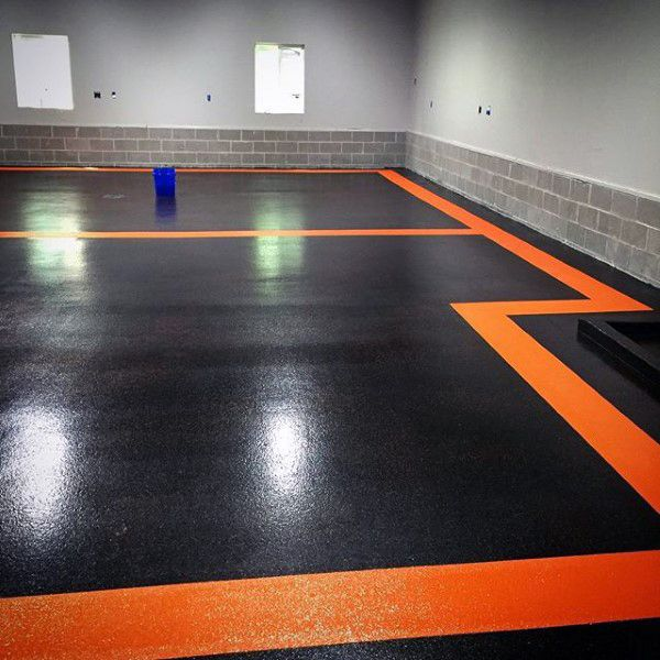 Garage Floor Paint Black And Orange Pattern Design Ideas