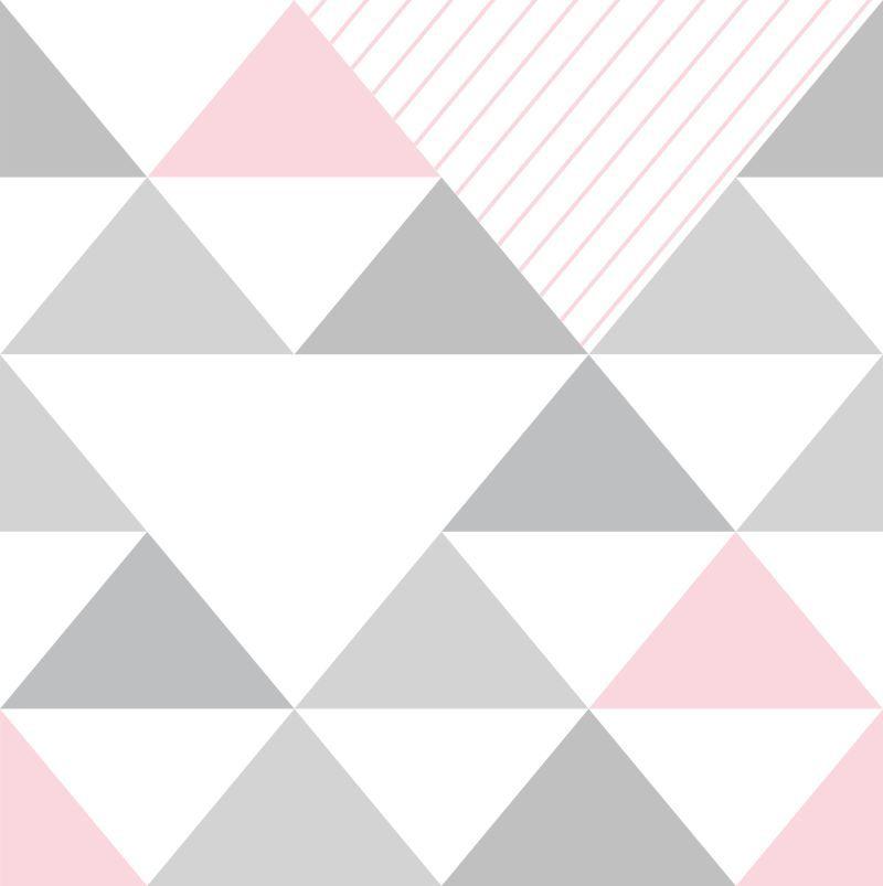 Papel De Parede Geometrico Triangulos Cinza E Rosa Em 2019