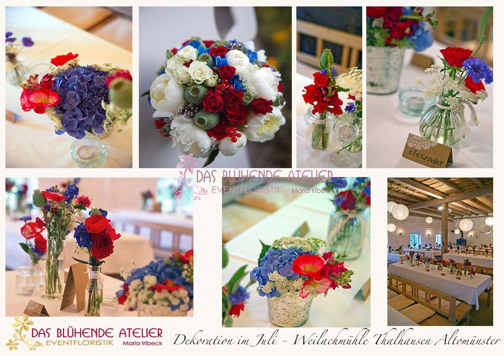 Blumendeko blaurot Landhaus  Wedding  Tischdekoration