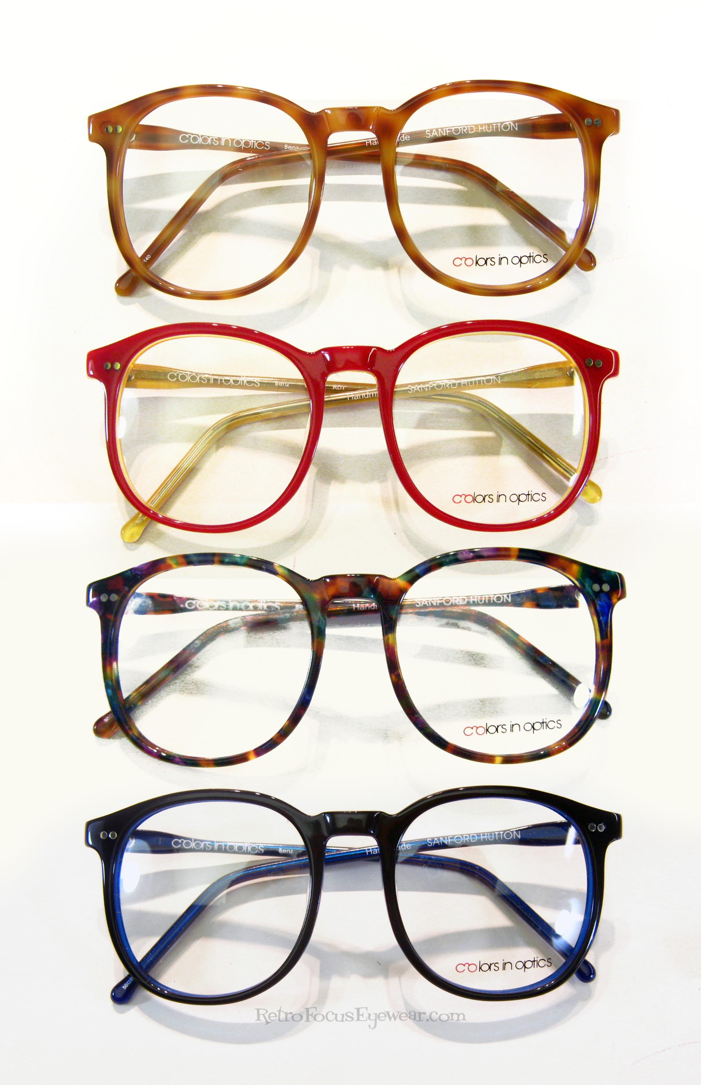 70's styled oversized eyeglass frames by Sanford Hutton of Colors in Optics. They come in Red/Yellow, Black/Royal Blue, Multi Tortoise, and Amber Tortoise. Find'm here: https://www.retrofocuseyewear.com/optical-frames/colors-in-optics-sanford-hutton/square-panto-horn-rimmed-eyeglass-frames/C913/red-yellow/black-royal-blue/amber-blonde-tortoise/multi-tortoise