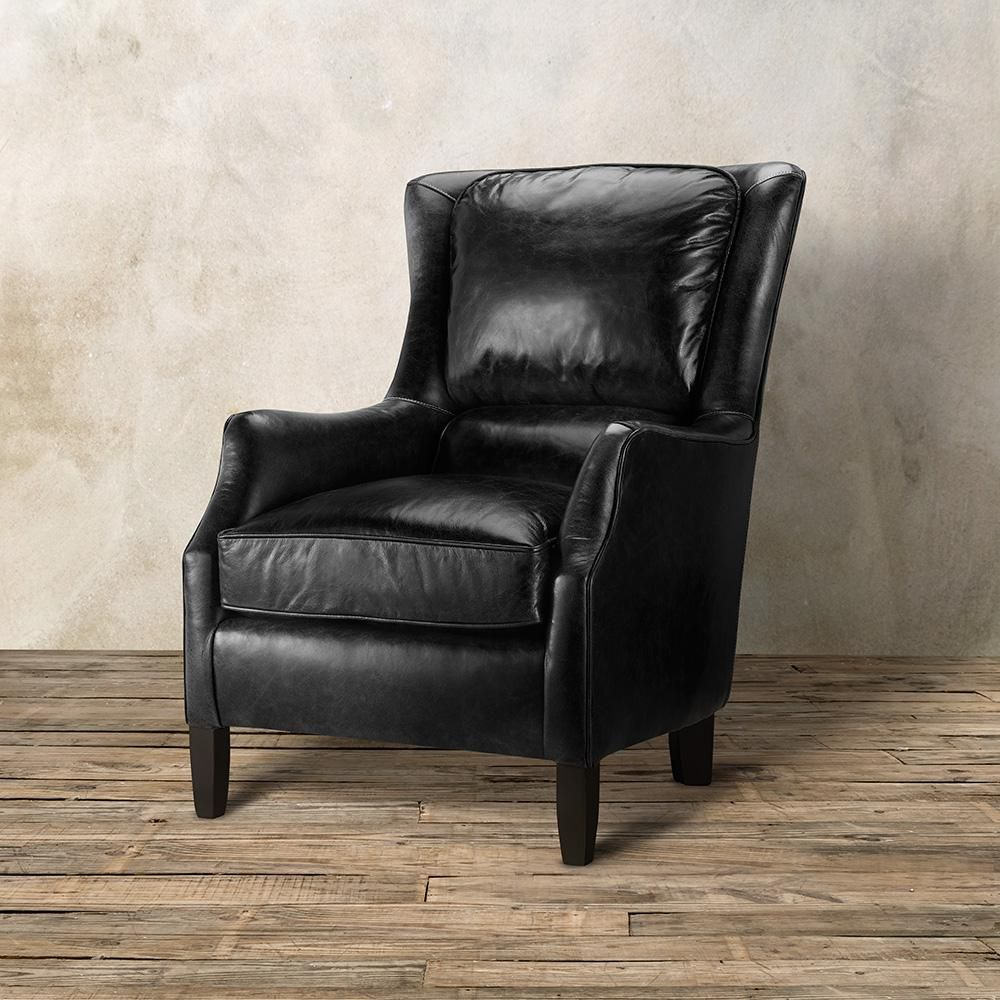 Alex Leather Chair In Old West Black | Arhaus | Upholstered