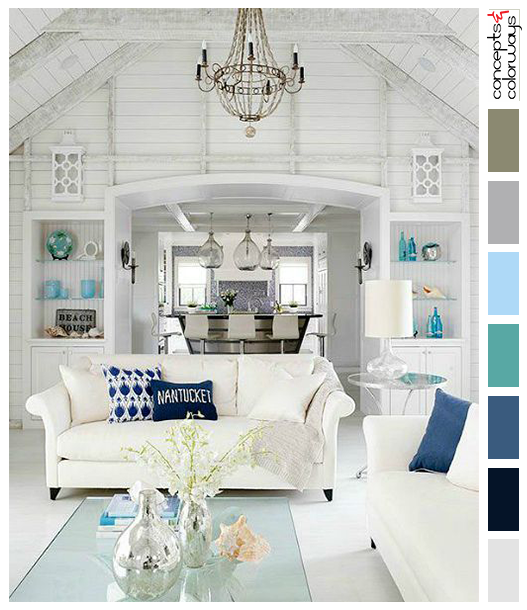 White Shiplapped Living Room With Blue Accents Coastal Style Interior Design And