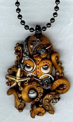 Steampunk Octopus Kraken Cephalopod necklace Polymer Clay Jewelry ... wanelo.com