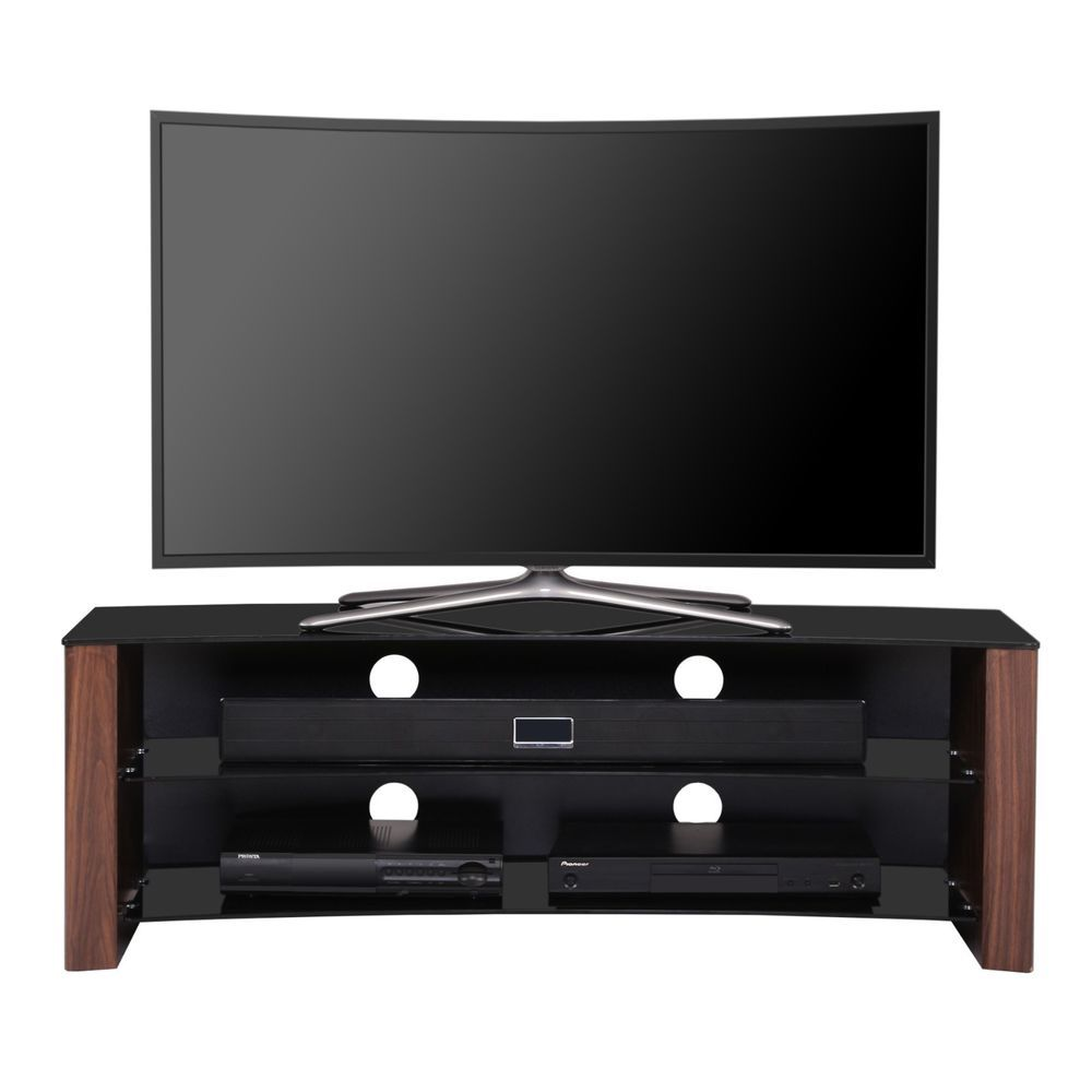 Curved Wooden TV Stand Home Entertainment Center for 32-58 I