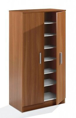 Bellini 2 Door Shoe Storage Cabinet Unit With 7 Shelves Chestnut Wood Melamine Shoe Storage Stora Shoe Storage Cabinet Bed Furniture Design Cupboard Design