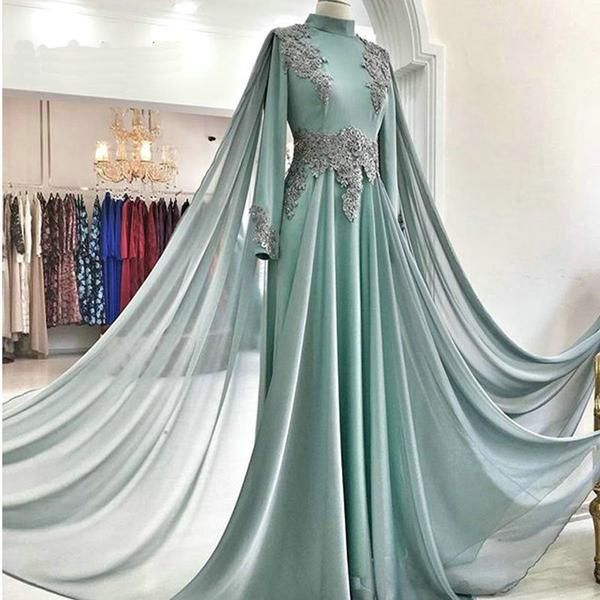 Green Tulle Sweep Train High Neck Long Arabic Prom Dress, Evening Dress With Sleeves