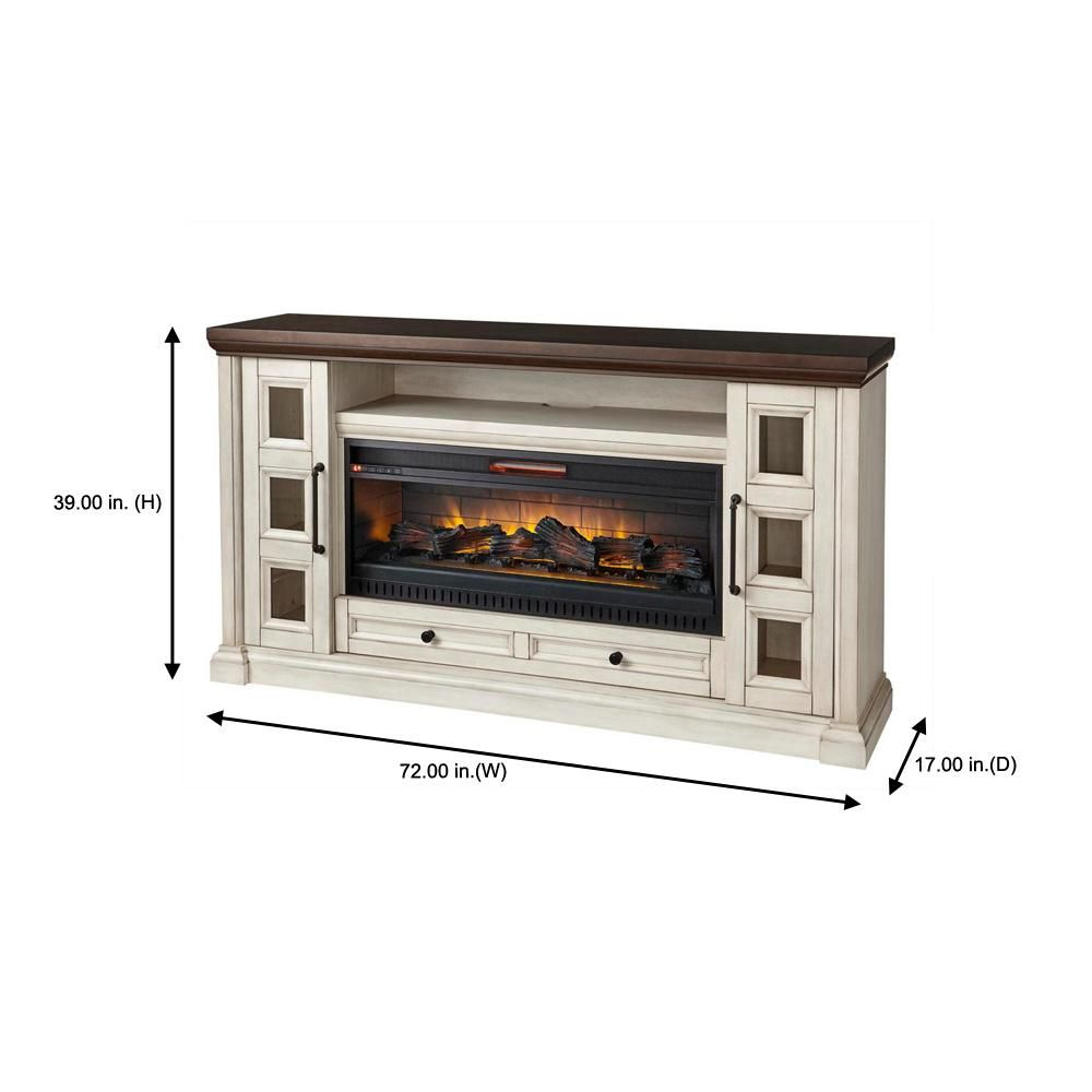 Home Decorators Collection Cecily 72 In Freestanding Electric Fireplace Tv Stand In Antique White With Warm Charcoal Top Finish Hdfp72 44e The Home Depot In 2020 Electric Fireplace Living Room Electric Fireplace