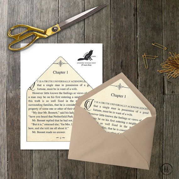 Printable Envelope Liner Book Page Envelope Liner Multiple Sizes