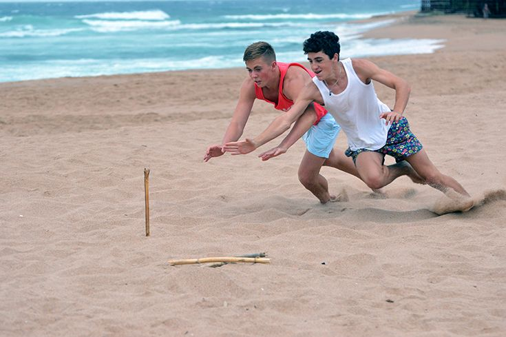 Beach games in action.