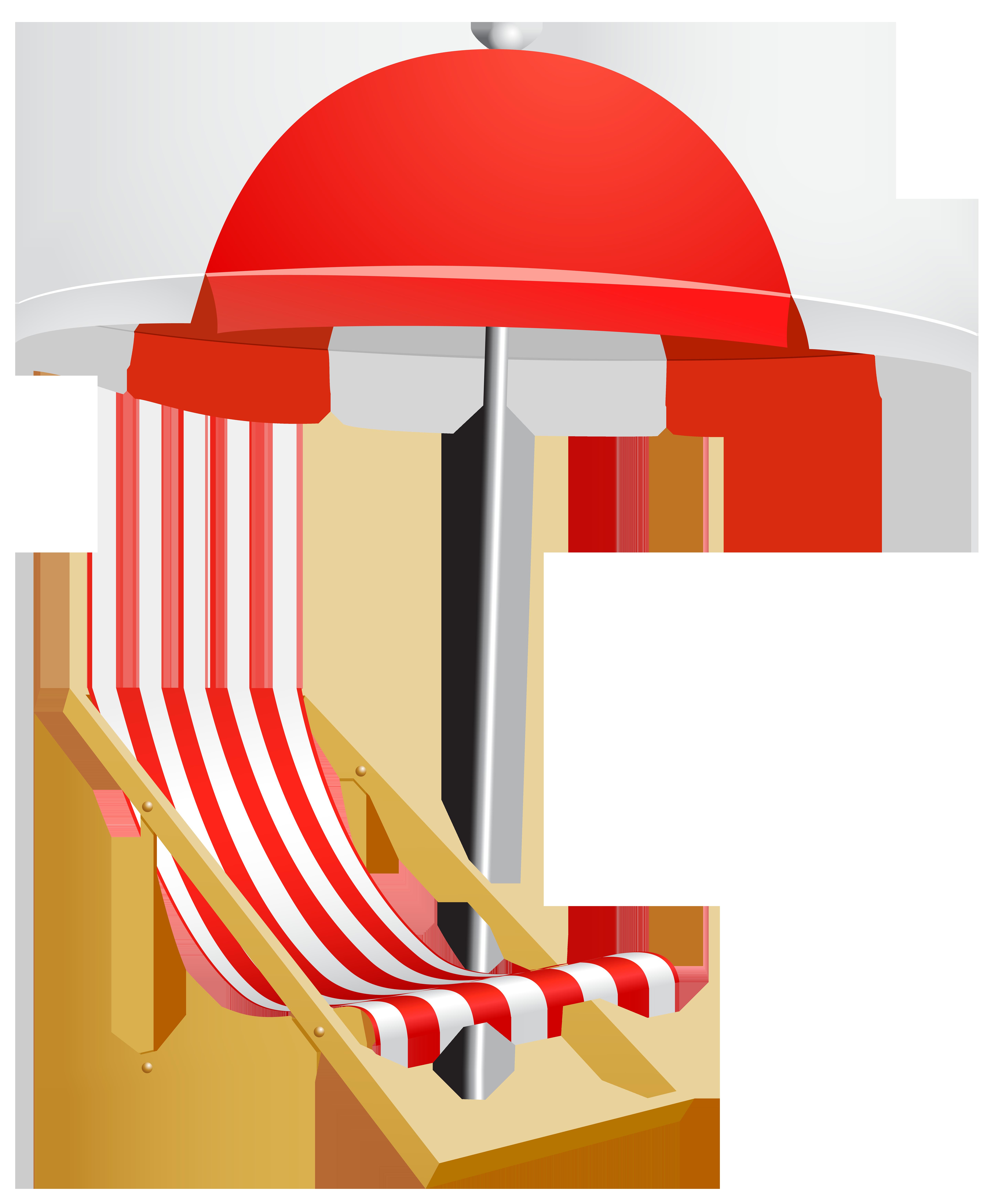 Beach Umbrella and Chair Transparent PNG Clip Art Image