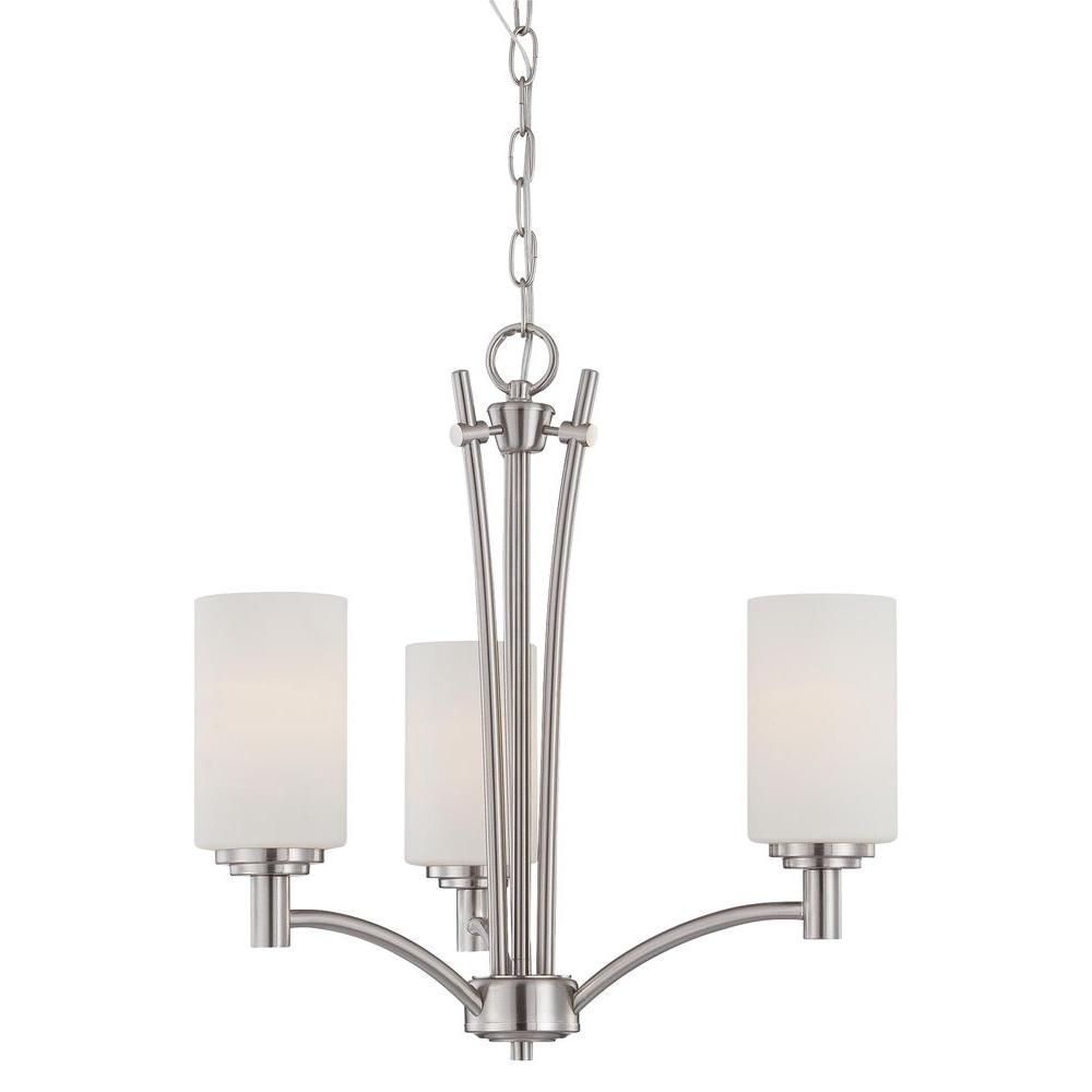 Brushed Nickel Dining Room Light Fixtures Thomas Lighting Pittman 3Light Brushed Nickel Chandelier