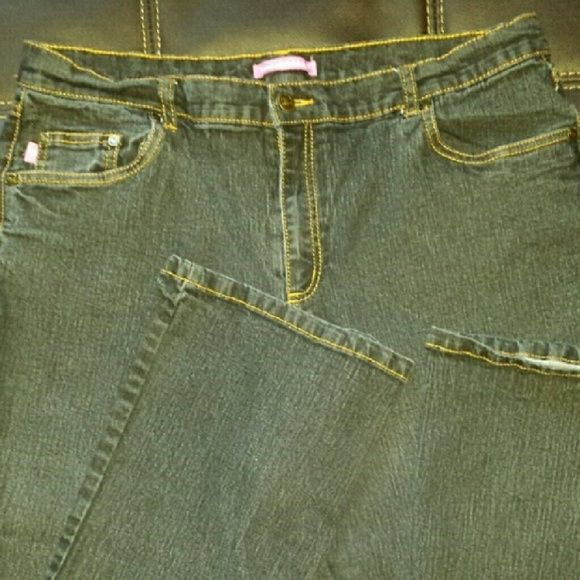 Basic black denim jeans - plus size, Natural Fit Black jeans with gold stitching by Woman Within. Wardrobe essential, like new. Color is darker than picture, they are black, and very soft for denim. Woman Within Jeans
