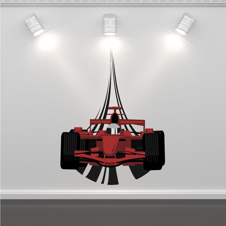 Wall Decal F1 Racing Car Wall Art Sticker Decal Mural Boys Bedroom