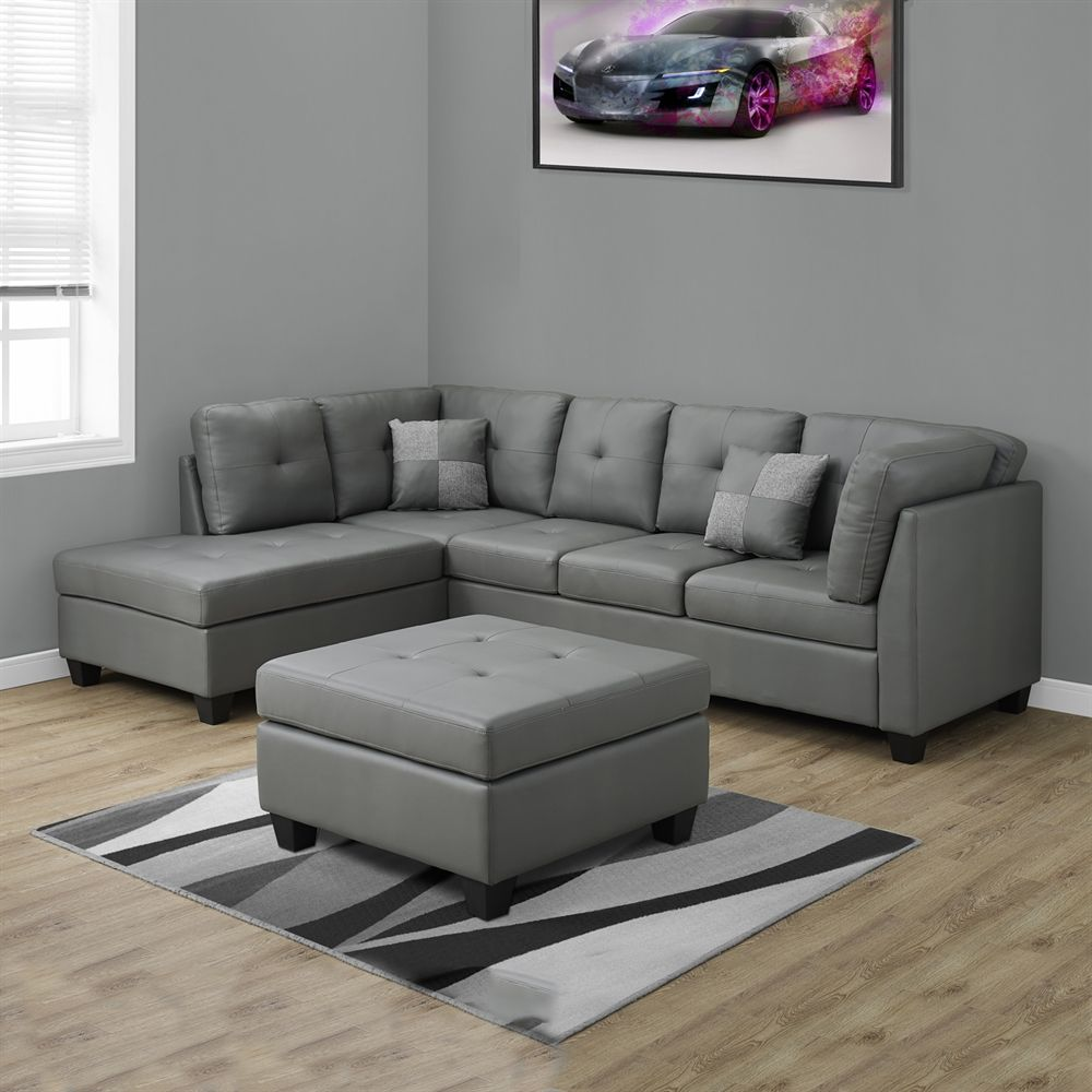 Shop Monarch Specialties I 8375 Bonded Leather Sectional Sofa At Atg Stores Leather Couches Living Room Sectional Sofa Couch Faux Leather Sectional