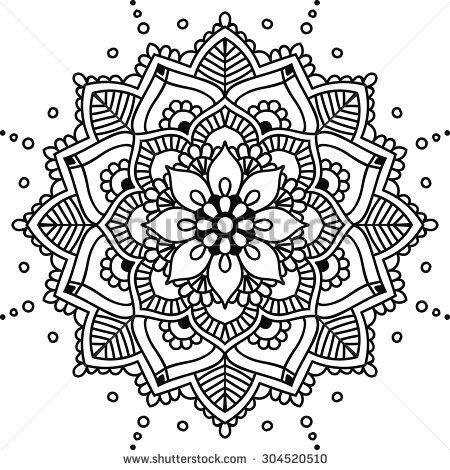 Simple Floral Mandala Black On The White Background Mandala