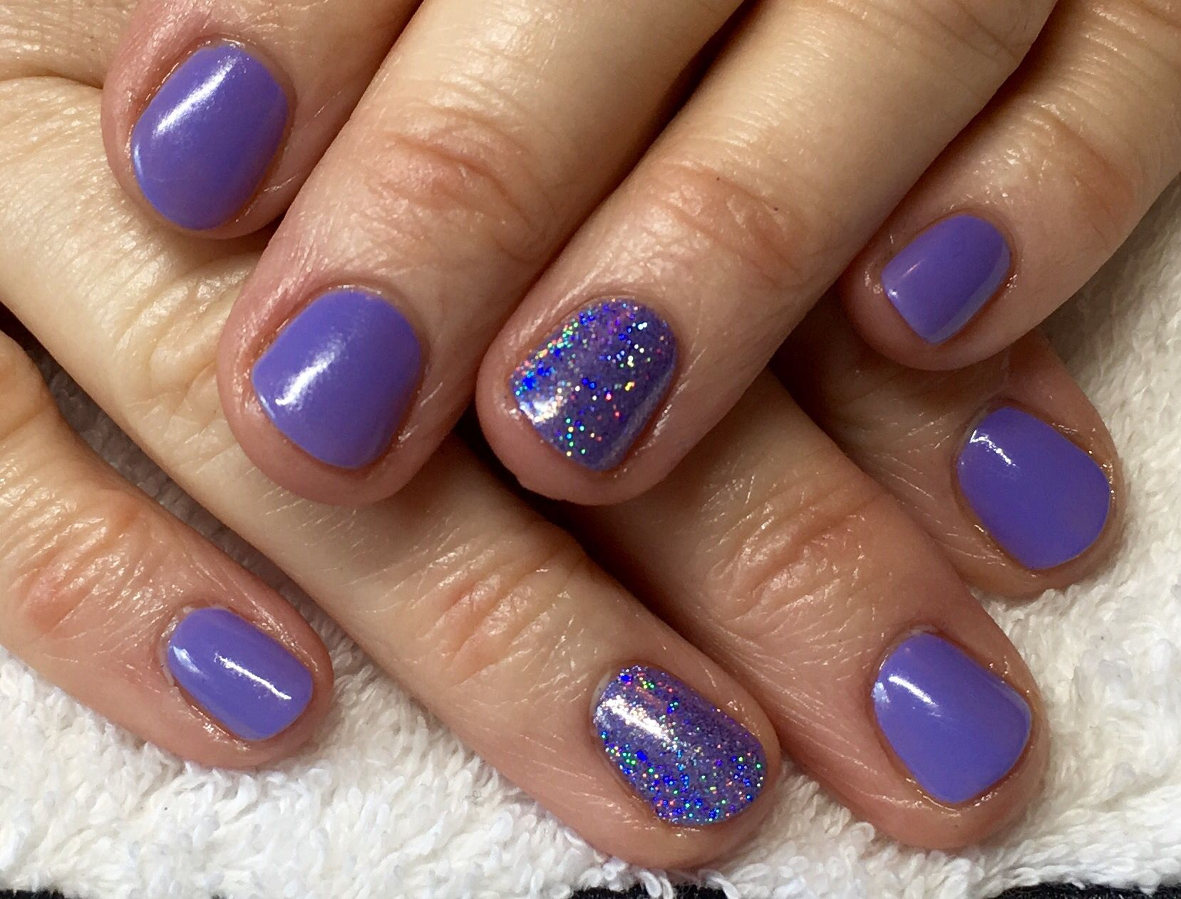 CND Shellac Wisteria Haze with Lecente Mortar Glitter at Nails by ...