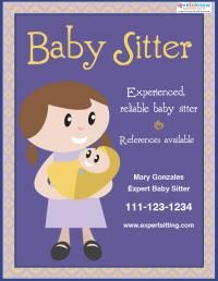 graphic regarding Free Printable Daycare Flyers titled Cost-free Babysitting Flyer Templates and Designs Skylar