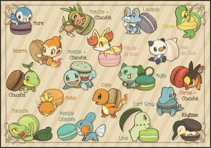 SUper cute starter pokemon with their macarons! I love the squirtle, bulbasaur and chikorita especially!