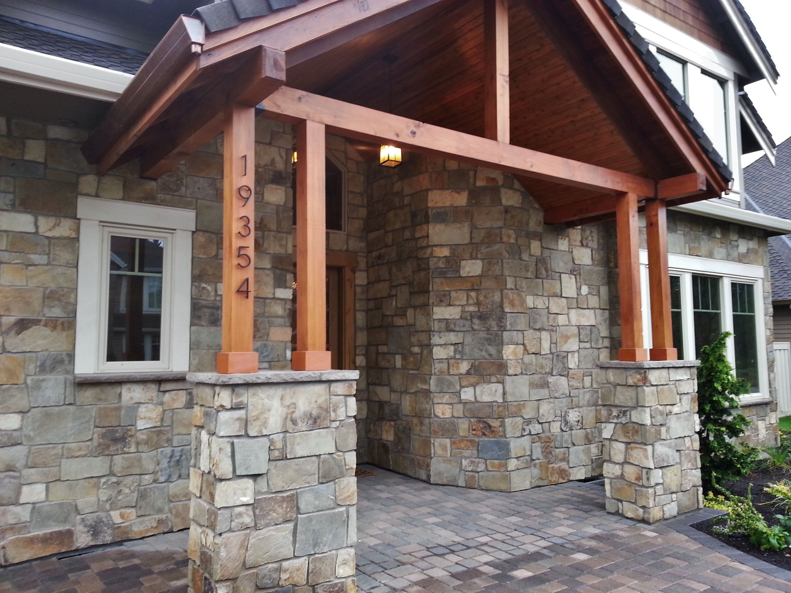 Natural Stone Columns : Natural stone veneer around garage