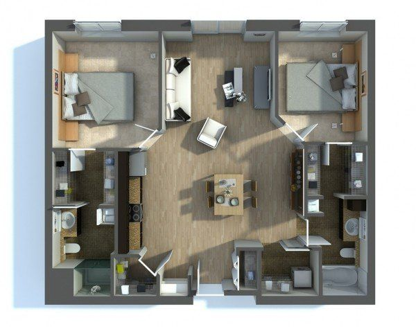 20 Interesting Two Bedroom Apartment Plans Home Design Lover House Plans Apartment Layout Small House Plans
