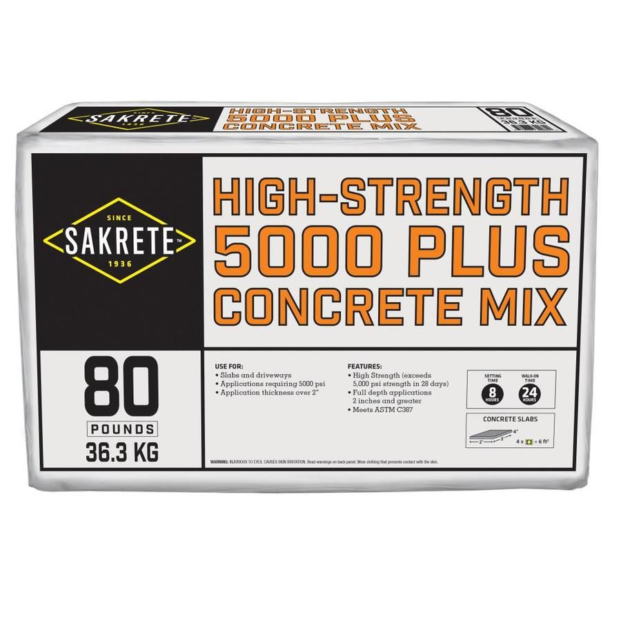 Sakrete 5000 Plus 80 Lb High Strength Concrete Mix High Strength Concrete Concrete Mixes Concrete