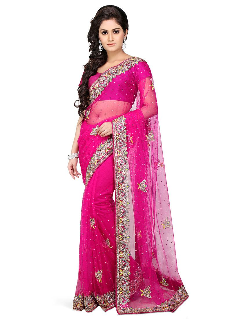 Buy Dark Pink Net Stones Saree, Stones, sari Online Shopping ...