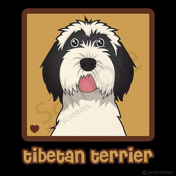 Tibetan Terrier Cartoon Heart Womens TShirt, S to 3XL on